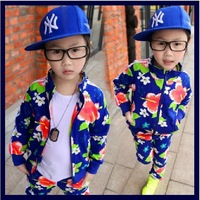 2013 new superstars  children's wear in the spring and autumn outfit star sports leisure cardigan coat pants suit  big flowers