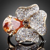 AZORA Unique Design 18K Real Gold Plated Orange Stellux Austrian Crystal Flower Ring TR0113
