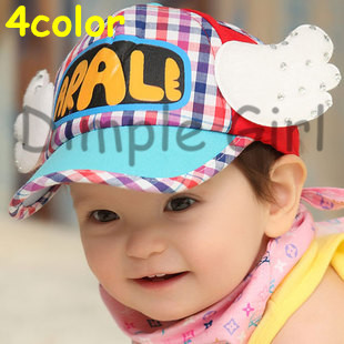 short brim kawaii novelty kids letter printed cute baseball sunhat Dr. Slump Arale cap with wing shape hat for baby girl boy(China (Mainland))