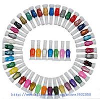 wholesale newest original 60 Colors 2-Way DIY Polish Nail Art Pen Varnish with Brush Set 60pcs/lot gift+free shipping