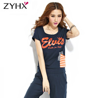 Free Shipping Woman Sport Set High Quality Summer Short-Sleeve Casual Sweatshirt  Set T-Shirt And Pants Orange/White/Blue JK-037
