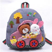 Hot baby kids children canvas fabric cotton backpack! kindergarten school bag backpack s! stripe car good gift for kids!