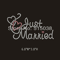 DHL Free Shipping 40pcs/Lot Just married rhinestone iron on transfers design