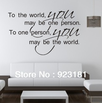 Free Shipping To the word,you may be one person Wall Stickers DIY Home Decoration Wall Pasters Removable Sticker (75x 50cm)(China (Mainland))