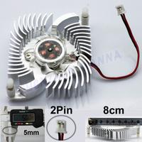 2 Pin 80mm Fan Cooler Heatsink For PC VGA Video Card Cooling 2PCS/LOT FREE SHIPPING FS005