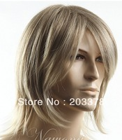Latest Cool Blonde Synthetic Hair Wig for man 10pcs/lot free shipping
