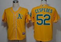 Mix Order Oakland Athletics 52# Yoenis Cespedes yellow Baseball Jerseys Embroidery logos Free Shipping