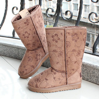 Winter warm boots knee-high 5825 print snow boots thickening medium-leg slip-resistant women's boots