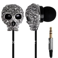 Stylish 3.5mm Plug Skull Design Stereo In-ear Music Earphone with Iron Box