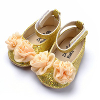 Free shipping Small flower gold Women princess shoes baby shoes soft outsole skidproof toddler shoes 6pairs