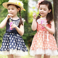 2013 summer lace collar polka dot girls clothing baby child tank dress