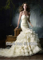 Free shipping Elegant Mermaid Sweetheart Organza Wedding Dresses Bridal Gowns With Ruffes Custom Size Wholesale/Retail