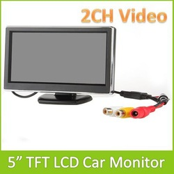 "New 5"" TFT LCD Digital Car Rear View Monitor Color Display With 2ch Channels Video Input For Camera DVD VCD GPS Free Shipping(China (Mainland))"