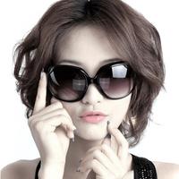 Fashion vintage plate sunglasses female frame big black round sunglasses anti-uv