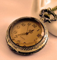 Min Order $20 (mixed order) Large big tea mirror pocket watch necklace vintage accessories necklace pocket watch  (RK)