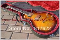 Wholesale Deluxe supreme desert sunburst Ebony Fret binding electric guitar EMS free shipping with hardcase