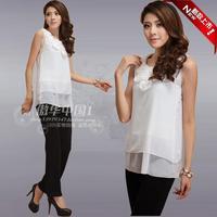 Chiffon shirt sweet white loose chiffon shirt plus size chiffon basic shirt