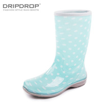 Dripdrop spring women's fashion flat heel rain shoes rain boots polka dot jelly knee-high rainboots water shoes