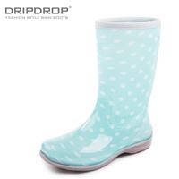 Dripdrop spring women's fashion flat heel rain shoes rain boots polka dot jelly knee-high rainboots water shoes