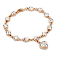 ITALINA fashion female birthday gift tourmaline small peach heart diamond moonstone bracelet 136