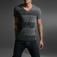 Biglong 2013 spring and summer male V-neck short-sleeve T-shirt color block stripe top decoration 100% cotton t-shirt 3342