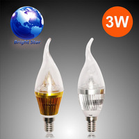 Wholesale-Low price Free shipping High power Globe light 3w led 220 e14 tip bulb/pull tail bulb