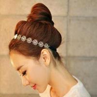 12pcs 2014 brand design fashion gold metal Rose chain headband Elastic hair band for women hair jewelry