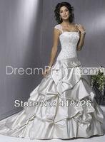 New Elegant White/Ivory scoop satin Bridal Dress Wedding Dress Gown Custom Size Free Shipping