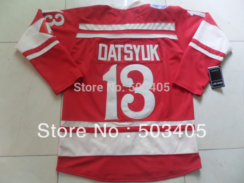 Detroit Red Wings #13 DATSYUK 2014 winter classic red hockey Jerseys, mix order(China (Mainland))