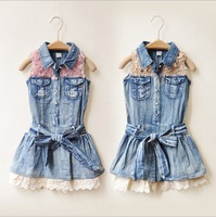 6pcs1lot, Korean children female dress girls dresses cowgirl lace dress 2 color free shipping
