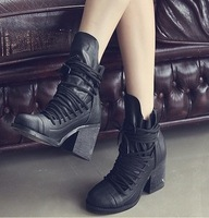2013 new south Korean women's shoes cross tie Roman woman ankle boots thick wood heel short boots freeshipping