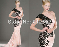 2013 Pink Black Lace One-Shoulder Formal Evening Dress Pageant Dresses Party Prom Gown Custom Size/Color Wholesale/Retail