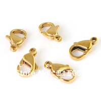 FREE SHIPPING 100pcs Gold-plated Strong High Quality 316L Stainless steel lobster clasps 12mm