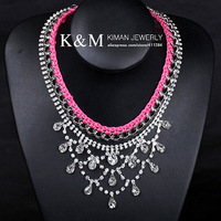 K&amp;M---New arrival CZ rhinestone crystal luxurious statement necklace NK-09011 FREE SHIPPING Ni/Pb free