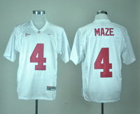 Fast shipping, wholesale price for NCAA A.L Crimson Tide #4 Marquis Maze Jersey In white color size M-3XL, Mix order