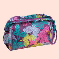 Free shipping fashion high quality Waterproof  Purple-Butterfly ruffles lovely handbags ladies clutch bags storage cosmetic bag