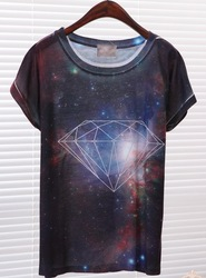 2013 Summer new women o-neck t-shirt brand universe diamond print short sleeve t-shirt,free shipping(China (Mainland))