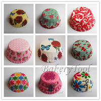 200pcs 8 designs flower cupcake liners baking cup cake mold cake wrapper muffin case bakeware wedding party cake tool