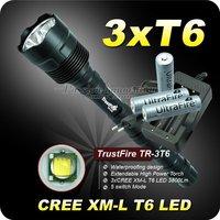 Free shipping,Trustfire 3T6 Flashlight 5 Mode 3800 Lumen CREE XM-L T6 LED Flashlight + 3 18650 battery+ Charger