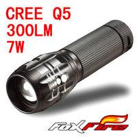 foxfire 7W 350lm Lumen CREE Q5 Focus Adjust Zoom LED mini Flashlight torch