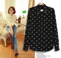 Free shipping 2013 rivet printing women loose chiffon shirt lady long-sleeve animal pattern shirt female tops