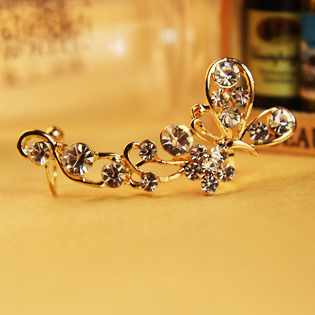 New arrival gold and silver rhinestone butterfly clip earrings no pierced ears button fashion spring earrings