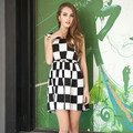 2013 fashion summer black and white plaid plus size chiffon one-piece dress women&#39;s short-sleeve vest chiffon