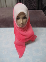 Light voile transition color glossy 110cm Large Size Square Scarf bandanas Musilim hijab Hat