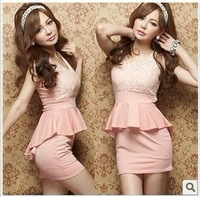 New arrival women's elegant sexy lace patchwork dovetail type slim hip dress one-piece dress 1