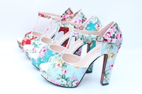 2013 spring and summer national trendy high chunky heels sandals platform open toe bohemia style women&#39;s shoes plus size 43 32