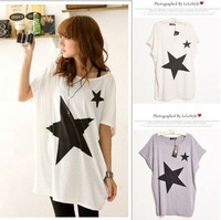 CREW NECK SHORT SLEEVE STAR PRINT T-SHIRT WF-2379