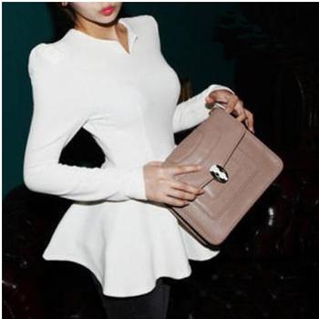 /S06/Sexy Slim Waist Top blouse Tight PEPLUM T-shirt Shirts Ruffle casual clothes women ladies club wear new Korean style summer
