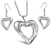 FREE SHIPPING Fashion Jewelry Set 316l Stainless Steel Heart Beautiful Earring&Pendandt Set,Wife&Girlfriend Gifts