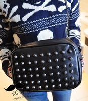 Free shipping 2013 vintage punk chain rivet day clutch female cross-body bags